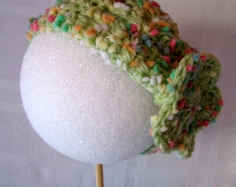 Dippy Dots Lacy Shell Green Baby Hat