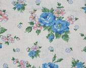 Vintage Feedsack Flour Sack Fabric Blue Pink Floral STILL SEWN