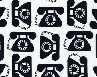 Vintage phones by  Robert Kaufman Fabric - 1 Yard  On Sale