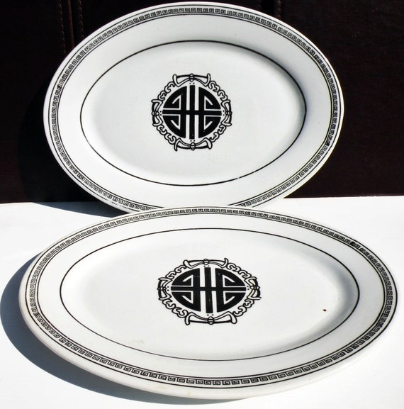 Vintage Serving Platters Restaurant Ware Black And White China