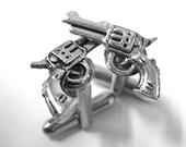 Silver Gun Cufflinks - Western Wedding Cuff Links - Mens Cufflinks - Revolver Gun Cuff Links