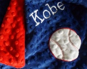 Lil Lovey Personalized baby blanket-blue and red baseball