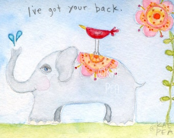 I've Got Your Back  5x7 PRINT from my original illustration