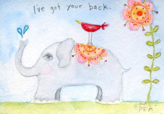 I've Got Your Back  5x7 PRINT from my original illustration