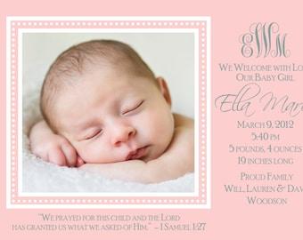 Birth Announcement - Sweet Love - Newborn - Monogram