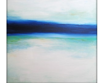 Large Abstract Painting on Canvas Modern Acrylic Skyline- 40x40- Blues, White, Greens, and more
