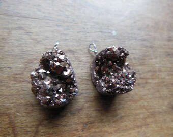 Set F Lot of Two Matching Copper Druzy Aura Quartz Crystal Cluster Wire Wrapped Beads Pendants Earrings Reiki Healing