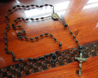 Very Old Vintage Black and Silver Toned Rosary Prayer Beads