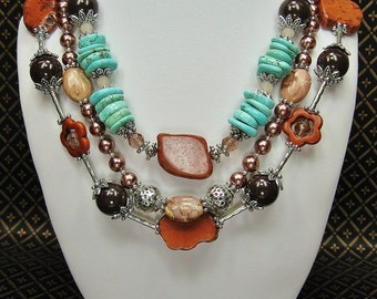 STATEMENT CHUNKY WESTERN Howlite Turquoise Cowgirl Necklace Set - RuSTiC TuRQUoiSe