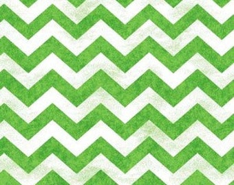 Morning Mist from Henry Glass - Green and White Distress-Look Chevron Quilt Fabric