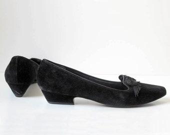 Black Suede Shoes/ Tassel/ Slipper/ Tassel Toes