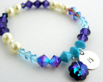 Purple Swarovski Bracelet, Purple Flower girl Bracelet, Personalized Bracelet, Beaded Crystal Bracelet, Purple Wedding, Pearl and Crystal