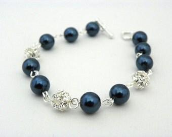 Blue Pearl Bracelet, Peacock Wedding, blue pearls, clear rhinestone balls, Blue and Silver, Blue Wedding, Royal Blue, Bridesmaid Bracelet