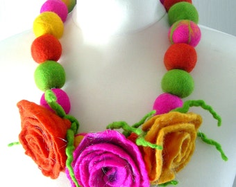 Felted Flower, Hand Felted, Wool Jewelry felted NECKLACE