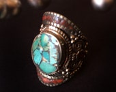 FREE Shipping Bohemian Turquoise Ring- Vintage Navajo style ring- Coral Turquoise ring- jewelry- Afghan Turquoise Kuchi Ring Ethnic
