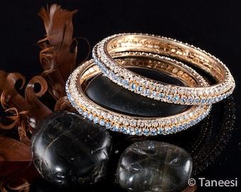 Blue Bangle Bracelet ,Vintage Bridal bracelet,Crystal blue White Crystals, Indian Bangle,Crystal Bracelet,Holiday Collection by Taneesi