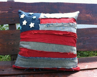 Pillow cover ROCK GRUNGE PUNK american flag