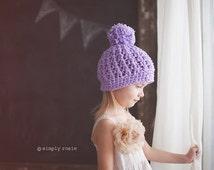 Violet Pom Pom Beanie for Girls, Crochet Hats, Girl's Beanie Hat in Cotton, 5T to Preteen