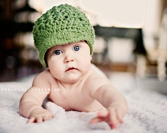 Crochet Baby Hat, Green Baby Newsboy Hat, Baby Hats, Crochet Baby Beanie with Visor, 0 to 12 Months