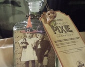 Halloween Potion Bottle, Dehydrated pixie droppings. Halloween altered art. Potion bottle. Apothecary bottle.