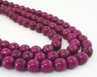 "Purple Round Beads - Burgundy Plum Howlite Beads - Round Ball Turquoise Drilled Gemstone - 8mm - 16"" Strand - DIY Beading Jewelry Project"