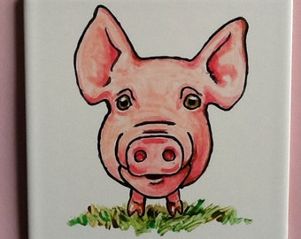 Cute Pig hand painted Wall Tile