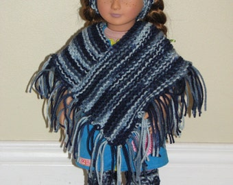 "18"" Doll Clothes - 4 Piece Knitted Poncho, Headband & Leg Warmer Set - Shaded Dusk"