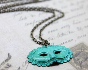 Small Verdigris Patina Mask, Masquerade Necklace