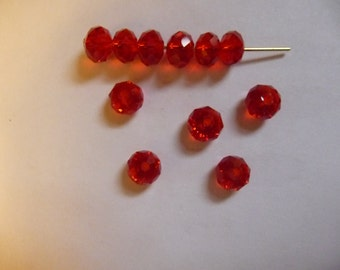 SALE!!  Beads, Glass, Red, Rondelle, 6mm, Pkg Of 12  SALE!!