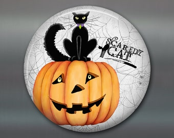 pumpkin Halloween decorations - fall pumpkin decorations - Halloween refrigerator magnet kitchen decor - black cat Halloween decor - MA-1374