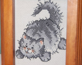 Completed and Framed - Cartoon Gray Kitty