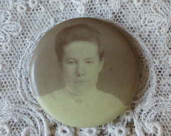 Antique Photo Pin Back