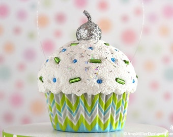 Cupcake Christmas Ornament - Green and Blue Chevron #CUP211