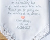 Embroidered Wedding Handkerchief Mother of the Bride Embroidered Wedding Gift For Mom Mother of the Bride Handkerchief By Canyon Embroidery