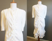 White Ruffle Dress Vintage Wedding Drop Waist 80s Medium