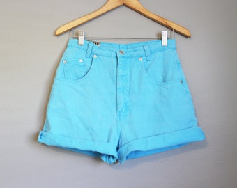 High Waisted Shorts Vintage Denim Jeans Blue Medium