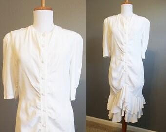 White Ruffle Dress Vintage Wedding Drop Waist 80s Medium