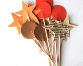 SALE - Orange and Neutral Star and Circle Cupcake Toppers - 12 picks in assorted colors and shapes