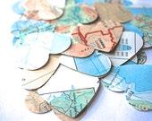 Vintage Map Heart Confetti, medium size
