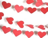 Red Paper Hearts Garland - horizontal or vertical hearts, 10' or 15'