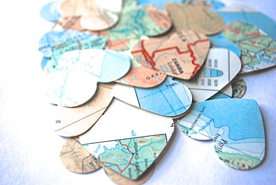 Vintage Map Heart Confetti, medium size