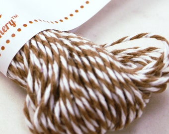 Bakers Twine - BRIGHT & BOLD Coffee Brown and White String for crafting, gift wrapping, packaging, invitations - 15 yards