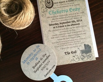 Storybook themed baby shower invites - set of 12