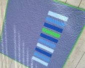 Modern Handmade Baby Infant Toddler Newborn Quilt Kona Cotton Fabric Gray Blue Green ready to ship