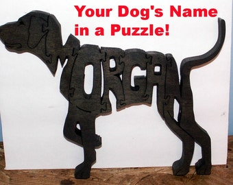 Custom Puzzle with YOUR DOG's Name Handmade Fretwork