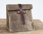 Lunch Tote in Dark Khaki Waxed Canvas