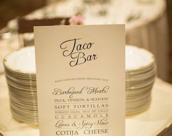 Dinner Menu Signs - Weddings & Events