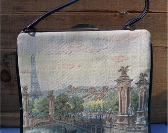 Made in France Purse, PARIS VIEW TAPESTRY, May Co-D & F Denver, Leather, One Handle, Vintage Women's Handbag