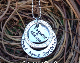 Personalized Hand Stamped Army Girlfriend Necklace