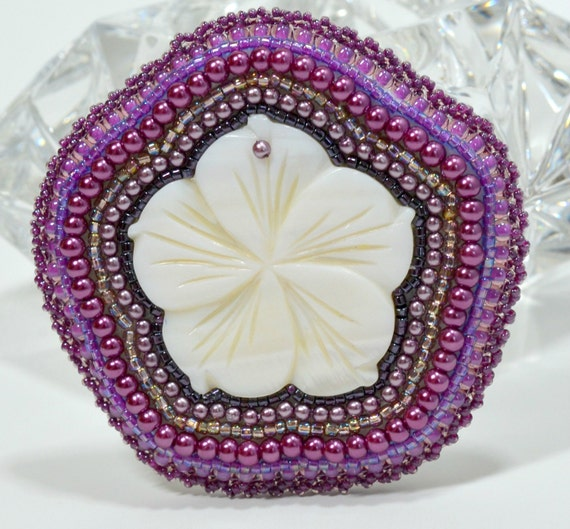 purple brooch bead embroidery flower shell pearls